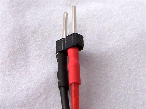 2 pin header with heatshrink tubing