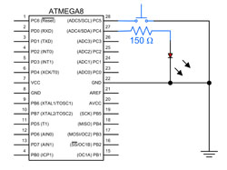 atmega8 switch and LED